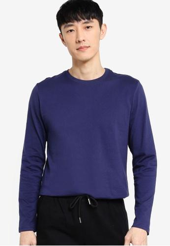 ZALORA BASICS navy Long Sleeve T-Shirt CB31CAAC847C02GS_1