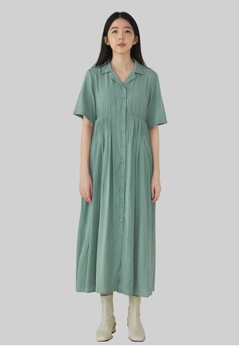 We Enjoy Simplicity 綠色 Iva Collar Pleated Long Dress (Teal Green) D289CAA76882EAGS_1