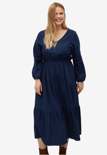 Violeta by MANGO blue Plus Size Flared Denim Dress C4EDAAA15C6CB4GS_1