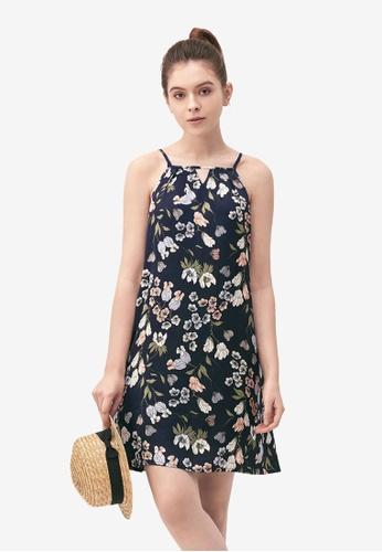 Kodz navy Wildflower Halter Neck Dress 01282AABFCFC28GS_1