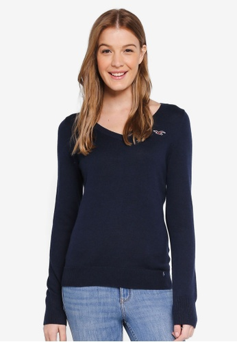 Hollister navy Icon Crew Sweater D147EAABCCC60FGS_1