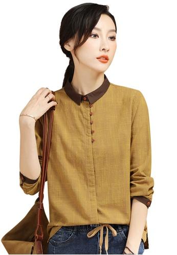 A-IN GIRLS yellow Retro Check Long Sleeve Shirt 58EEDAAA709217GS_1
