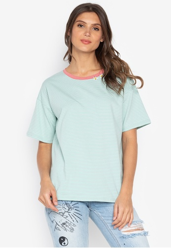 Chase Fashion green Stripes Loose T-Shirt With Flowers Embroidery EEA3DAA7EDFF2BGS_1