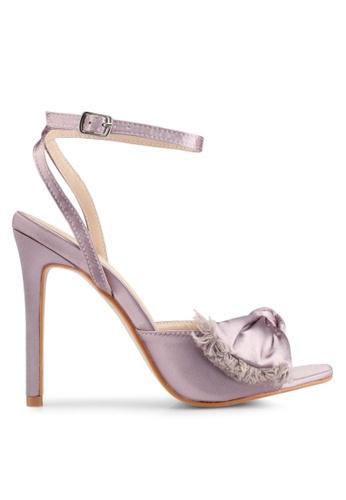 Public Desire 粉紅色 蝴蝶結繞踝細跟鞋 D87B6SHE68756CGS_1