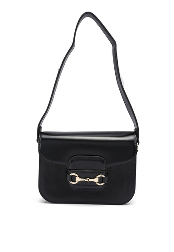 Forever New black Daria Metal Trim Saddle Bag 0B7FAAC4A780F5GS_1