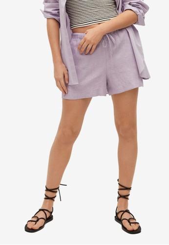 Mango purple Linen Shorts DA3F4AAC49D3E4GS_1