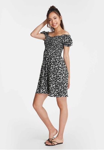 6IXTY8IGHT black MALTESE, Shirred Puff Sleeve Flared Dress DS09011 E8A34AABEEAAAAGS_1