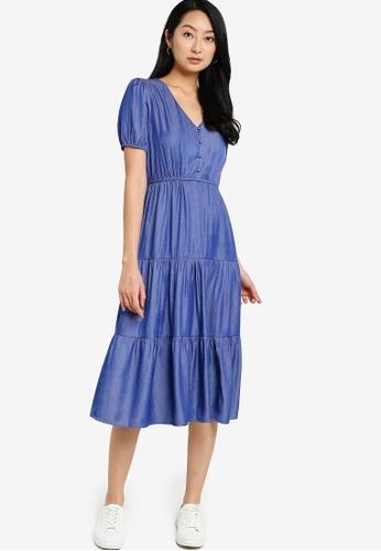 ZALORA BASICS blue Chambray Puff Sleeve Babydoll Midi Dress F2EFBAAB46FFD2GS_1