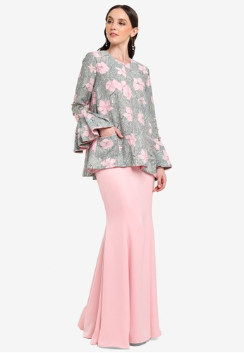 Olina Set Modern Baju Kurung from Jovian Mandagie for Zalora in Pink