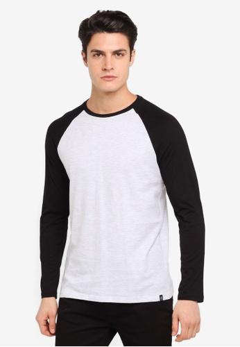 Burton Menswear London black Black And Frost Grey Long Sleeve Raglan T-Shirt BU964AA0T1HSMY_1