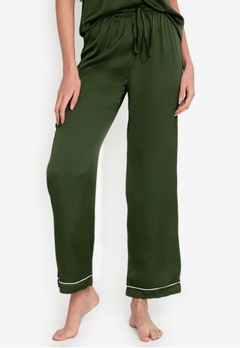 ZALORA BASICS green Lounge Satin Pyjama Trouser 62665AACFF3A66GS_1