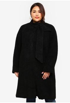 0e4958c8438 ELVI black Plus Size Black Shearling Coat 92B7CAA309D0A1GS 1