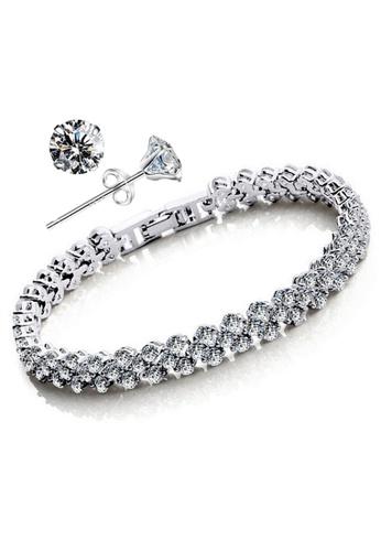 YOUNIQ silver YOUNIQ Dazzling Platinum Plated Silver Bracelet & 925S Silver CZ Earrings Set YO999AC98MKJMY_1