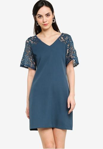 ZALORA WORK green Lace Panel Short Sleeves Shift Dress 1B696AA14BA8CAGS_1