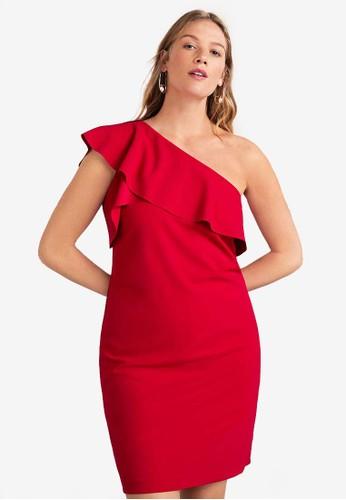 Violeta by MANGO red Asymmetrical Ruffle Dress 6256FAA9BF2653GS_1