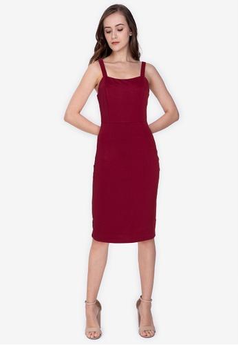 ZALORA WORK red Square Neck Bodycon Dress 1D364AA359CB05GS_1