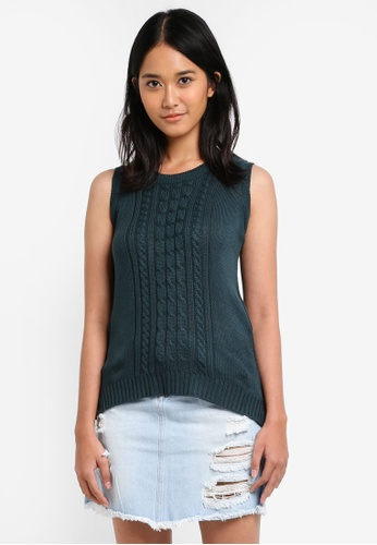 Penshoppe green Semi Fit Top With Side Slits D5E23AA321C639GS_1