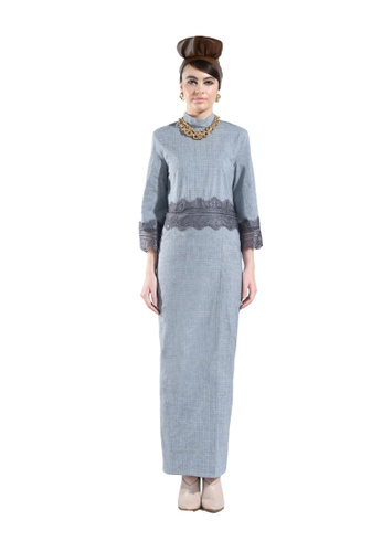 Liatris Grey Border Lace Top with Maxi Dress from Hernani in Grey and Blue