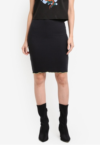 Something Borrowed black Contrast Detail Rib Skirt 1F760AAFA00E39GS_1