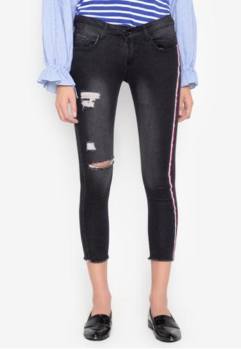 Balaynor black Contrast Side Stripe Distressed Jeans E10D5AADB55AB5GS_1