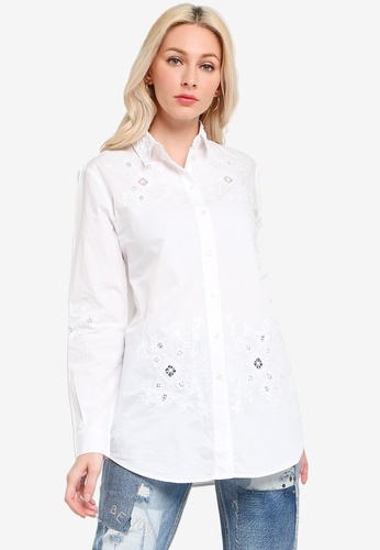 Desigual white Perforated Embroidery Shirt FF2BBAAC941F1EGS_1