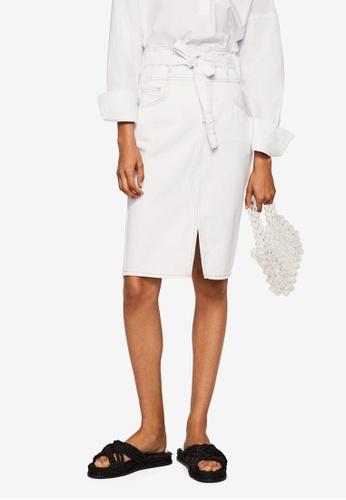 Mango white Knot Denim Skirt 34DE7AA368928DGS_1