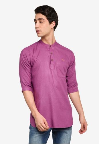 Mudaser purple Purple Three Quarter Sleeve Shirt (Alif Top) 954D4AA5A25DFFGS_1