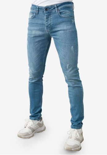 Trendyol blue Mid Washed Distressed Skinny Jeans 4AB37AA15B4679GS_1