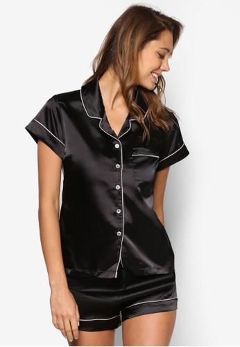 撞色滾邊短袖睡衣套esprit 包裝, 服飾, 服飾