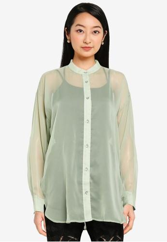 JEANASIS green Sheer Long Sleeve Shirt 0FF14AA49AFC65GS_1