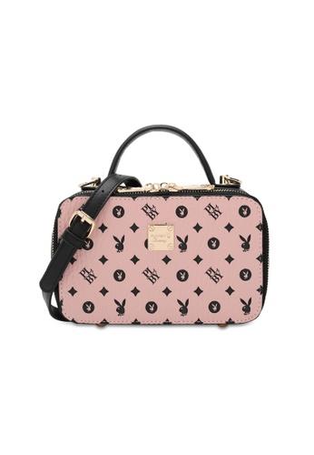 PLAYBOY BUNNY pink Monogram Top Hand Bag EF46DAC9F3A11EGS_1