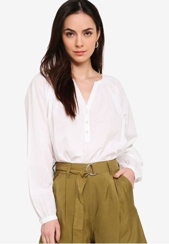 French Connection white Badrai Cotton Voile Popover Top 15A7EAA9FB9176GS_1