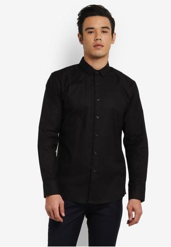 ZALORA black Slim Fit Oxford Long Sleeve Shirt F2611AA25332B2GS_1