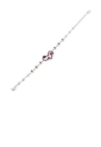 Glamorousky purple Genuine Love Heart Shape Bracelet with Purple Austrian Element Crystals and CZ Beads C4534ACA0EF755GS_1