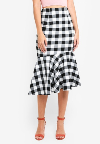 MDSCollections black Tie Front Ruffled-Hem Skirt In Black Gingham 8C8ABAA4D1DA5DGS_1