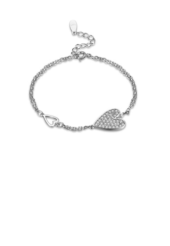Glamorousky white 925 Sterling Silver Elegant Fashion Romantic Heart Shape Bracelet with Cubic Zircon FCA5FACC4D5DCFGS_1