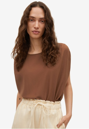 Mango 褐色 Ruched Shoulder上衣 E12C0AA842E1B6GS_1