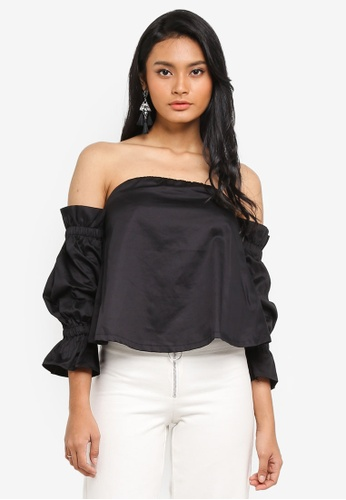 Preen & Proper black Cold Shoulder Bustier Top 137D4AAAE4B326GS_1