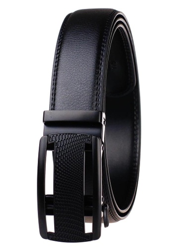 FANYU black Leather Dress Belt With Automatic Buckle belt 4345AAC4EA8877GS_1