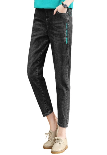A-IN GIRLS black Elastic Waist Printed Jeans 25BC4AAF069CE2GS_1