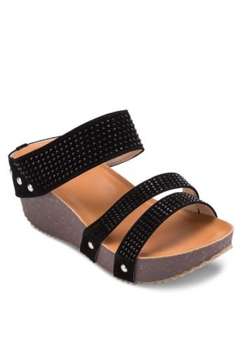 鉚釘仿麂皮帶楔esprit 童裝形涼鞋, 女鞋, 楔形涼鞋