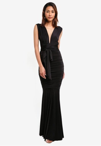 Goddiva black Open Back Multi Tie Maxi Dress 72F46AAD9F64D5GS_1