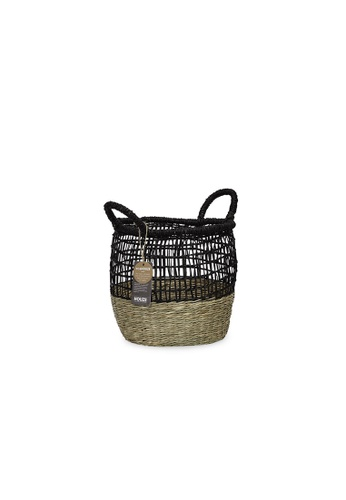 HOUZE black ecoHOUZE Seagrass Woven Basket With Handles - Black (Small) 44F39HL09BDACEGS_1