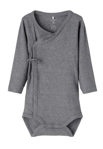 NAME IT grey Nisto Long Sleeves Wrap Bodysuit 220C9KAF407BD2GS_1