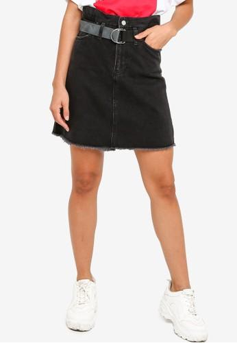 GUESS black Paper Bag Mini Skirt 6E4BCAA400FFBAGS_1