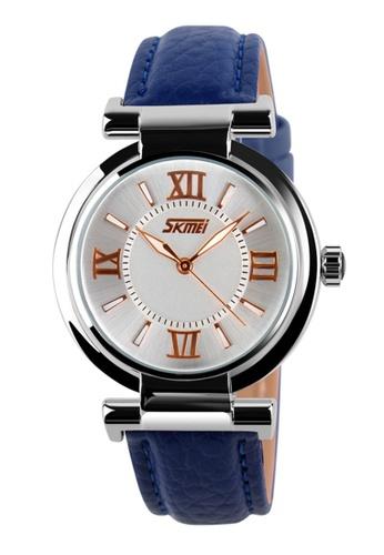 Skmei blue SKMEI 9075 Ladies's Fashion Elegant Genuine Leather Strap Watch (Blue) SK707AC0RXDJMY_1