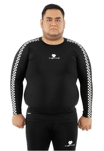 Tiento black Tiento Man Baselayer Big Size Baju Ketat Manset Olahraga Pria Long Sleeve Black Retro Race Rashguard Sport Original EDFD6AAA7127D6GS_1