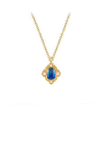 Glamorousky white 925 Sterling Silver Plated Gold Fashion Vintage Palace Style Geometric Pendant with Blue Cubic Zirconia and Necklace 61CAFACC6830D4GS_1