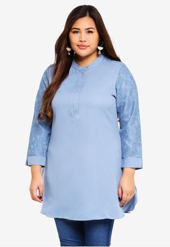 BYN blue Plus Size Muslimah Blouse 3206CAA3B61077GS_1