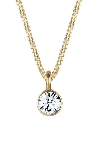 Elli Germany white and gold Elli Germany Necklace Gold Plated 925 Silver Swarovski® Crystal Solitaire EL474AC70OKJMY_1